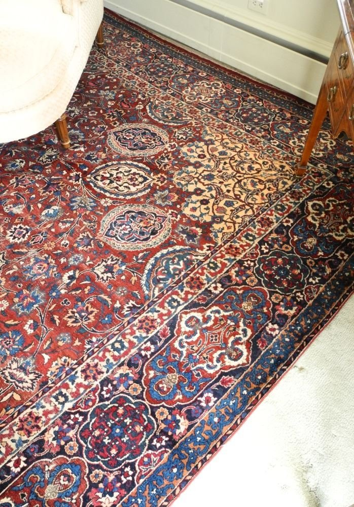 "Kirman Carpet, 20"" x 10'6"", signed. - 3"