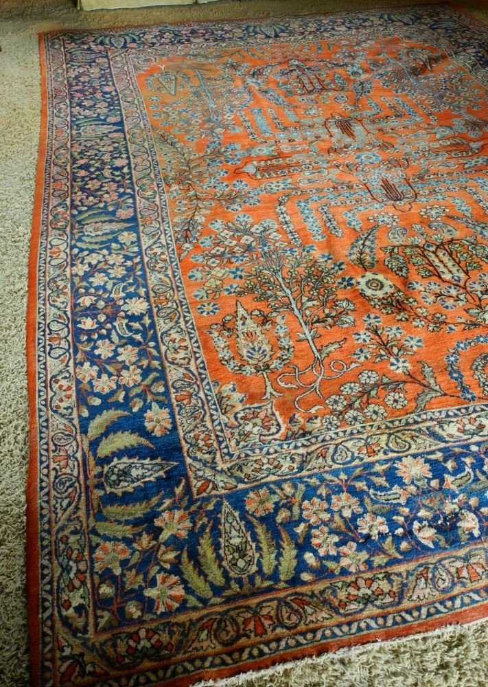 "Approximately 12'8"" x 9' Persian Carpet, showing wear. - 2"