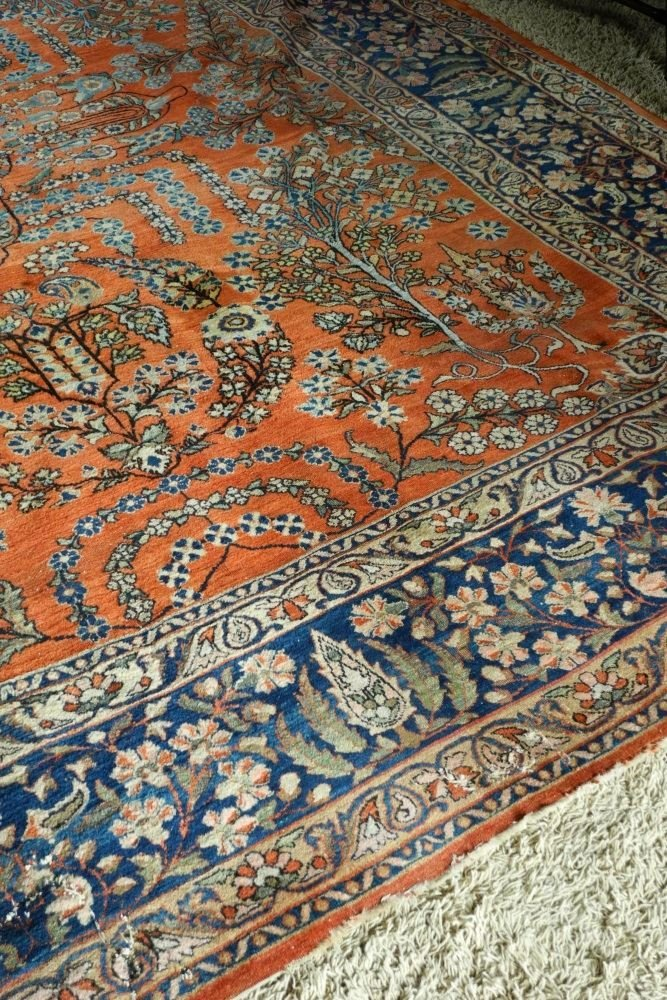 "Approximately 12'8"" x 9' Persian Carpet, showing wear. - 3"