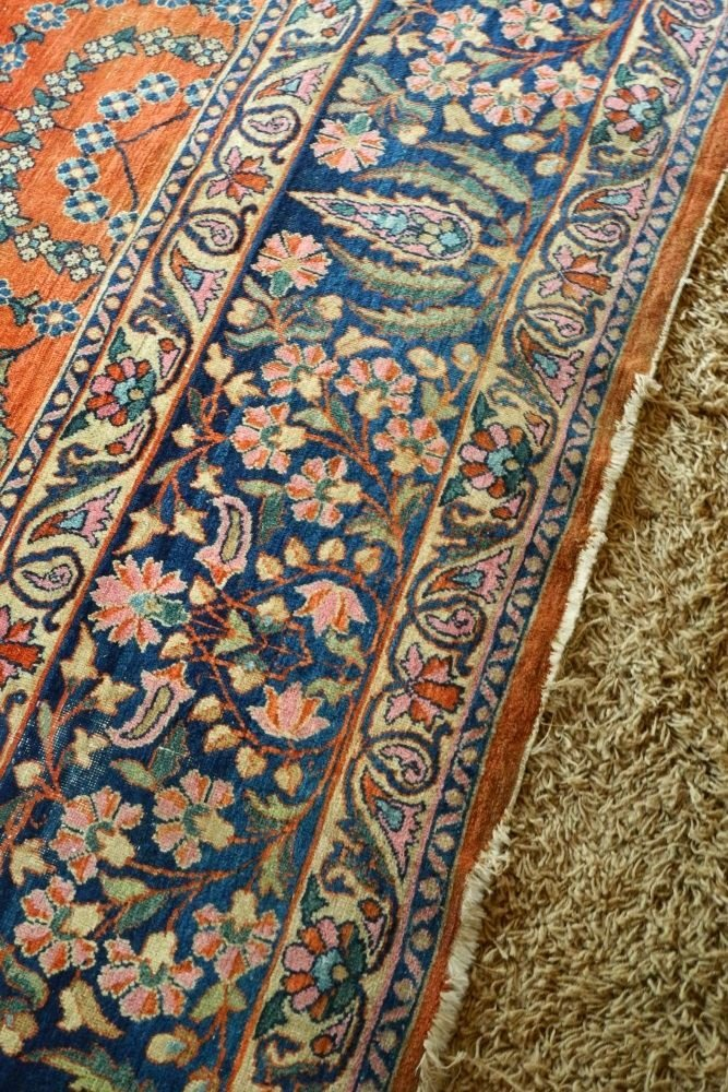 "Approximately 12'8"" x 9' Persian Carpet, showing wear. - 4"