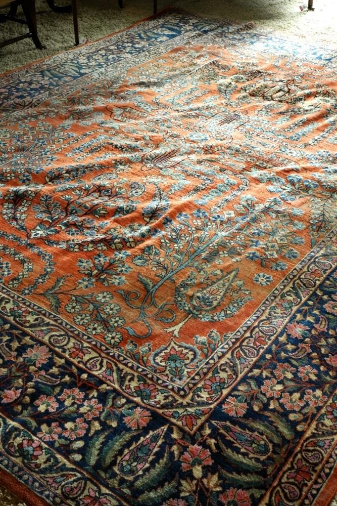 "Approximately 12'8"" x 9' Persian Carpet, showing wear. - 5"