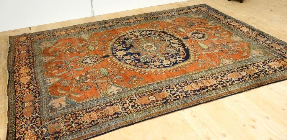 "Asian Carpet, approximately 8'6"" x 11'6""."