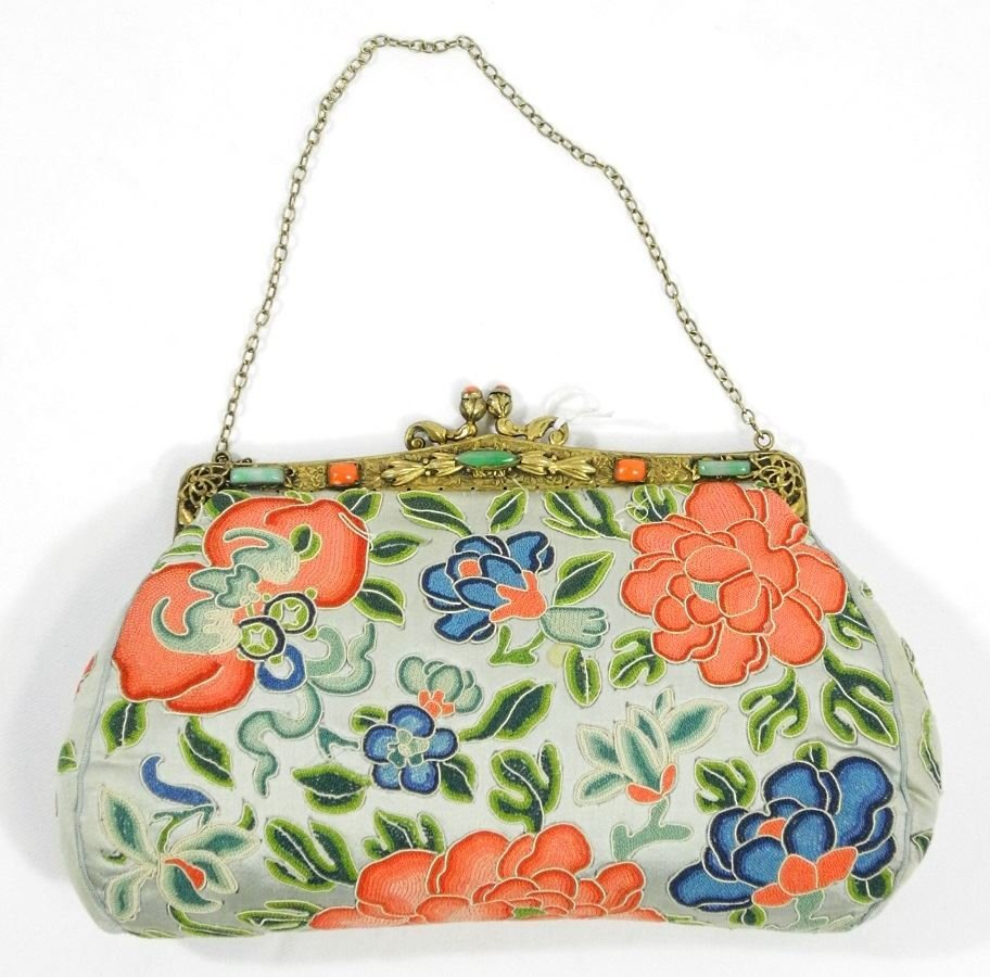 Asian Embroidered Evening Bag Decorated with Jade and