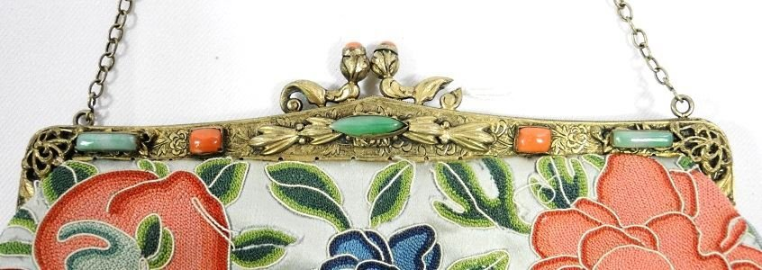 Asian Embroidered Evening Bag Decorated with Jade and - 3