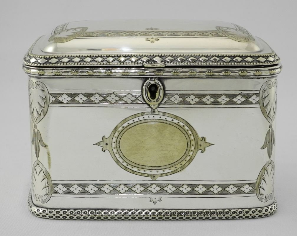 Late Victorian Plated Two Compartment Tea Caddy.