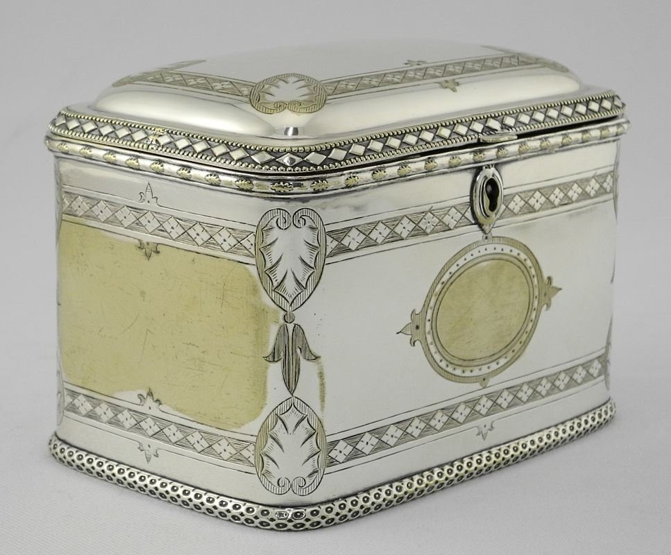Late Victorian Plated Two Compartment Tea Caddy. - 2