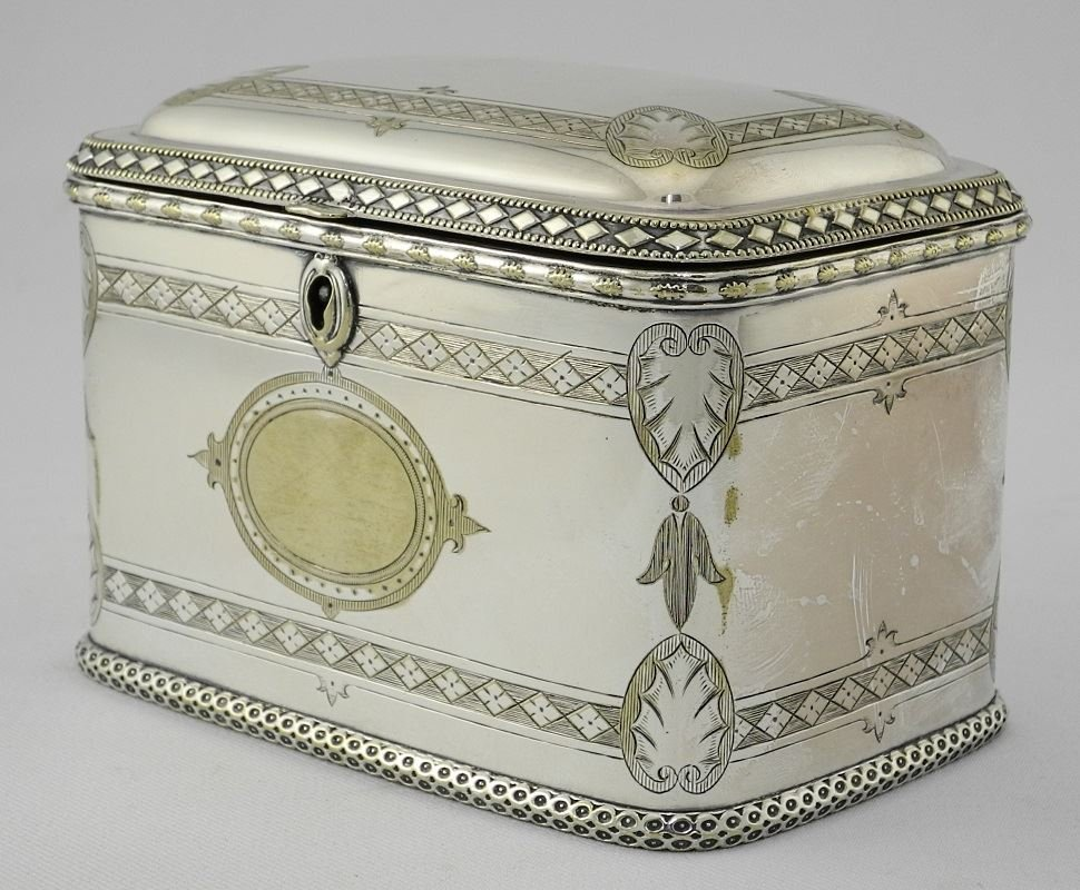 Late Victorian Plated Two Compartment Tea Caddy. - 3