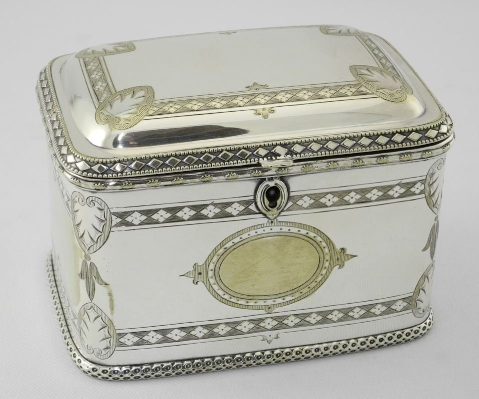 Late Victorian Plated Two Compartment Tea Caddy. - 4