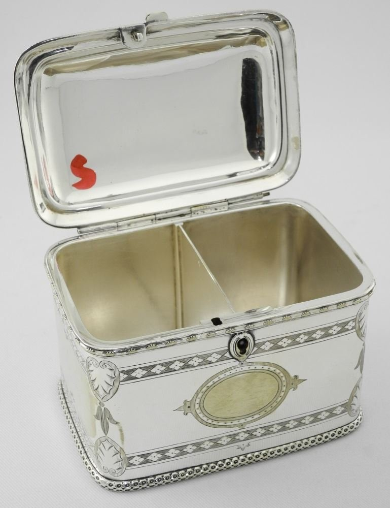 Late Victorian Plated Two Compartment Tea Caddy. - 5