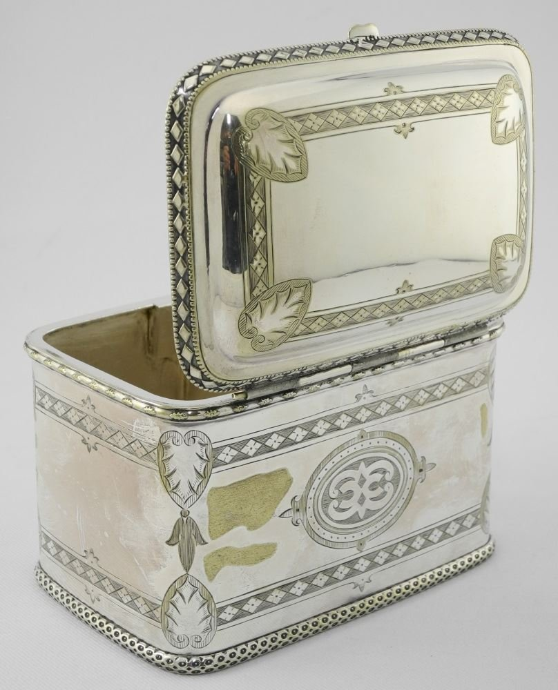 Late Victorian Plated Two Compartment Tea Caddy. - 6