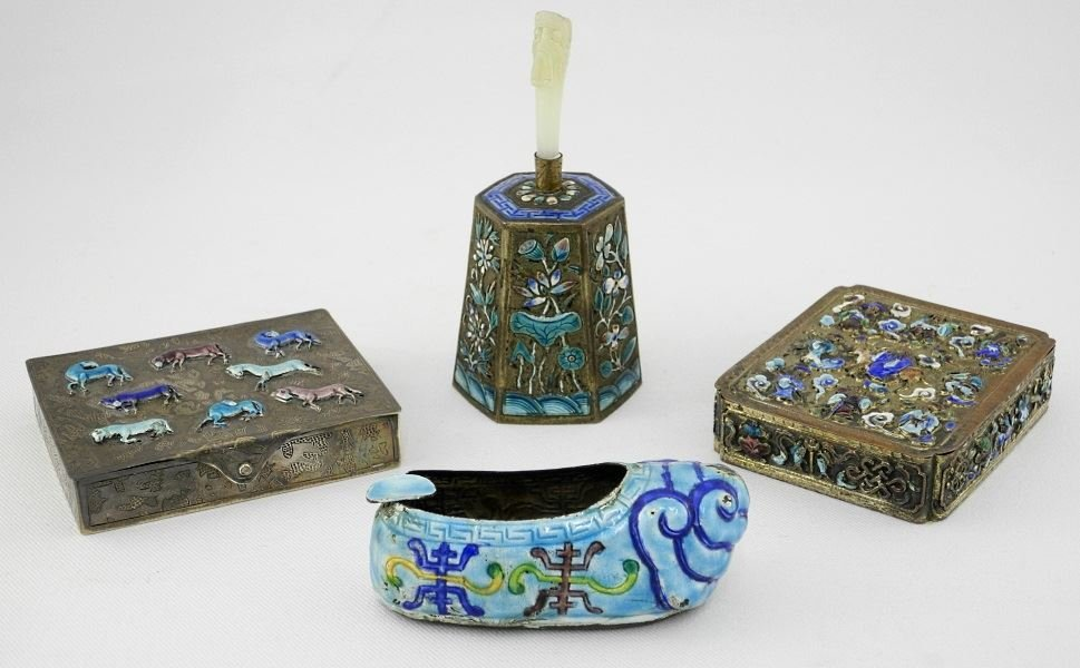 Two Chinese Silver and Enamel Boxes, a Shoe and a