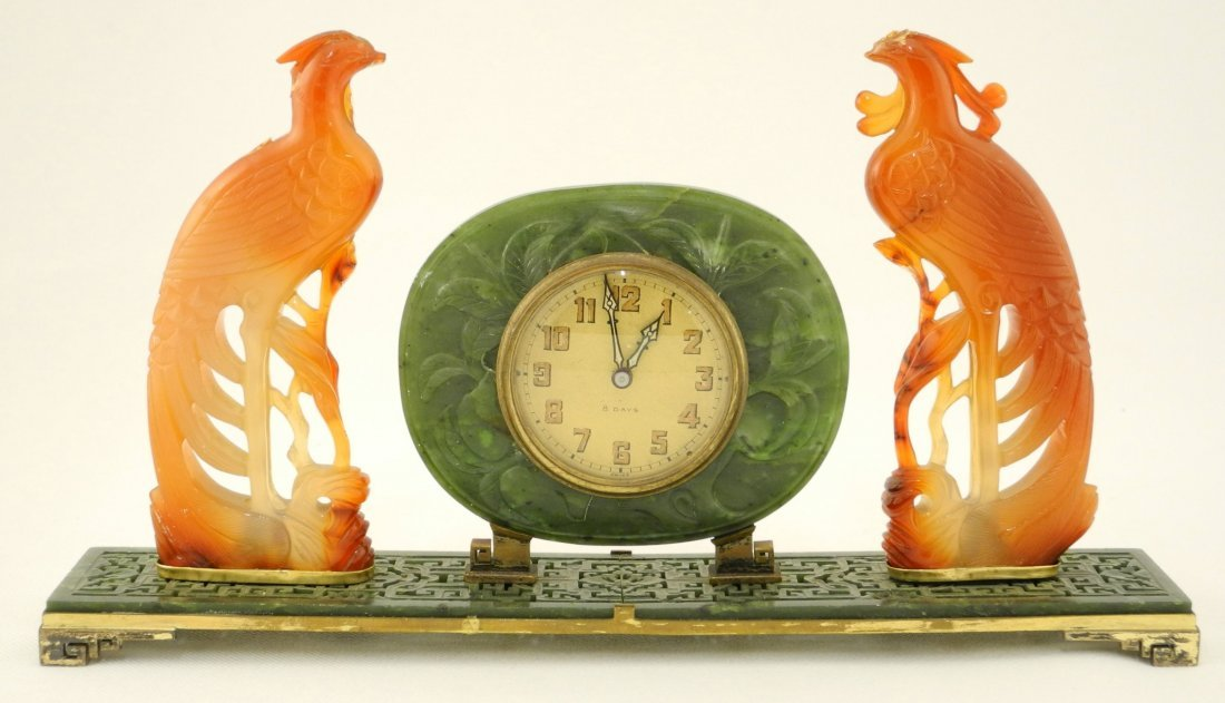 Carved Serpentine Desk Clock flanked by two Phoenix, by