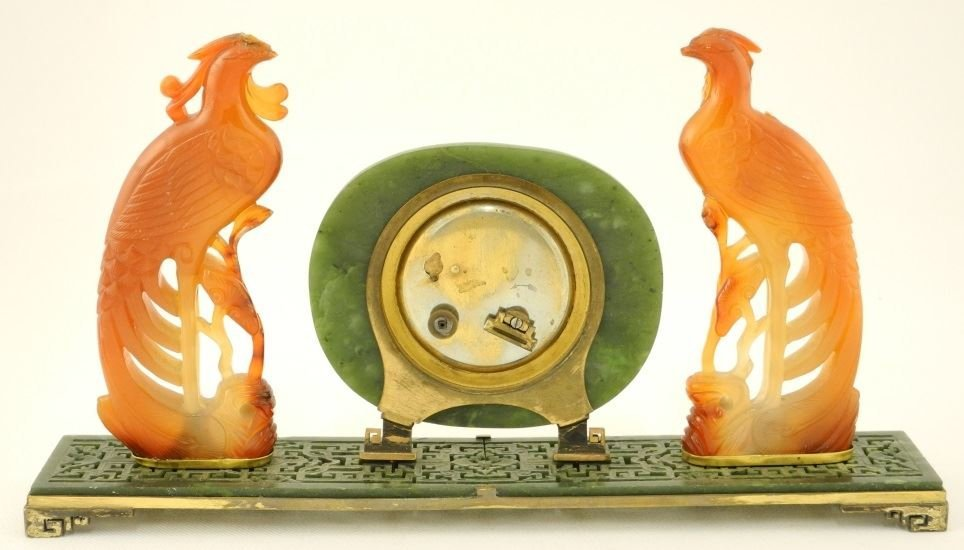 Carved Serpentine Desk Clock flanked by two Phoenix, by - 2