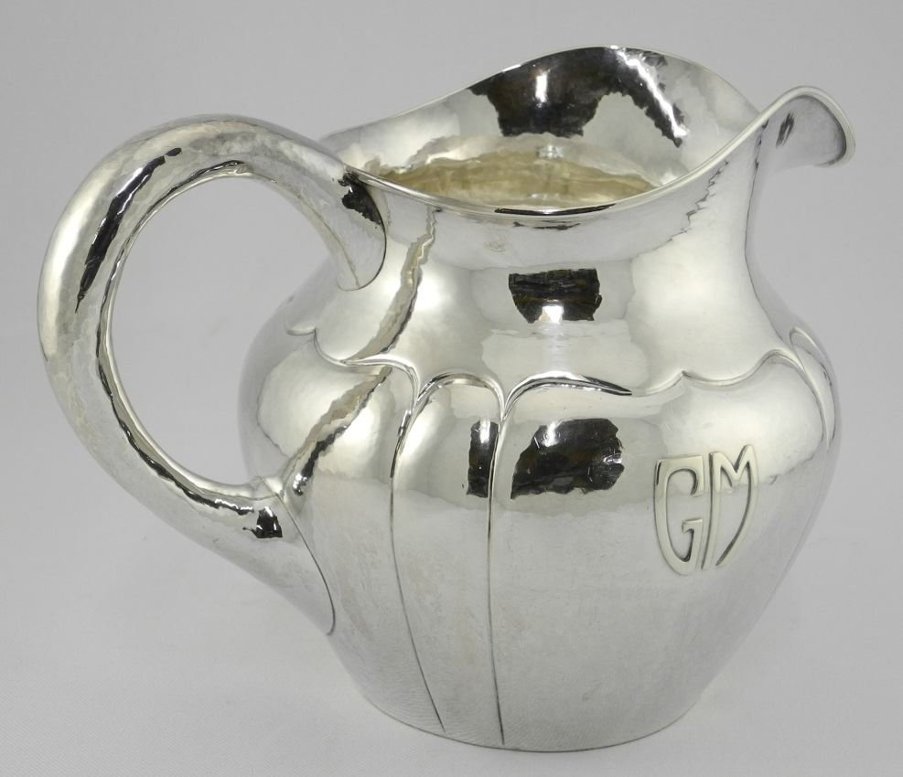 Hand Wrought Sterling Silver Water Pitcher of melon