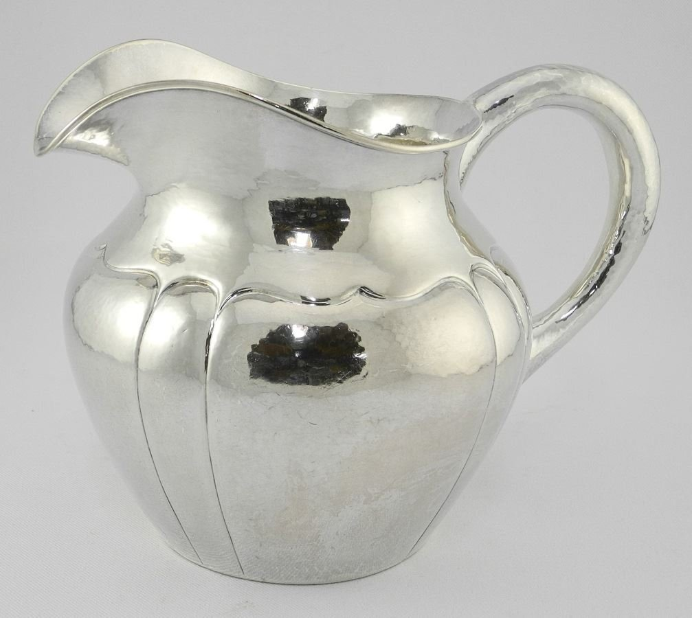 Hand Wrought Sterling Silver Water Pitcher of melon - 2