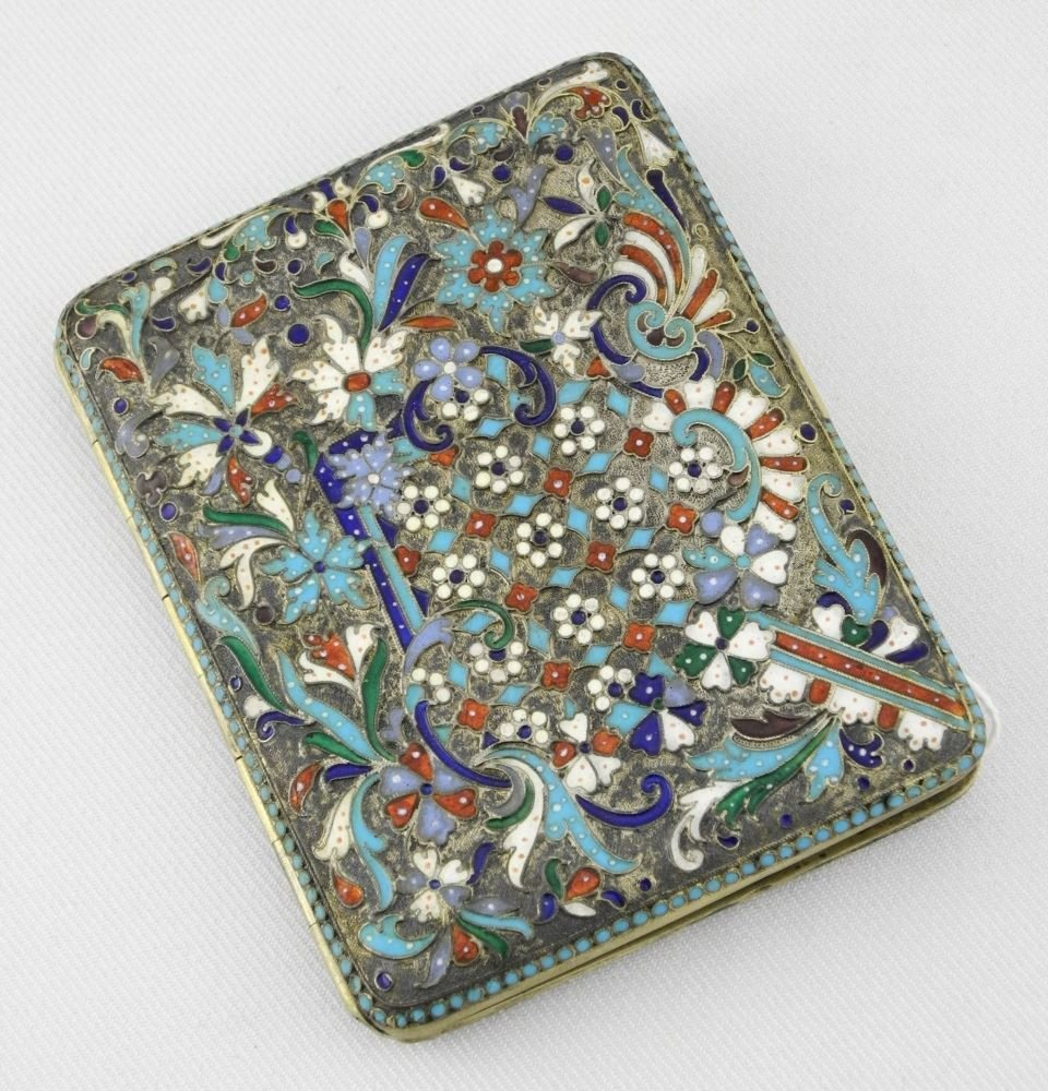 Russian Silver Gilt and Cloisonne Enameled Cigarette