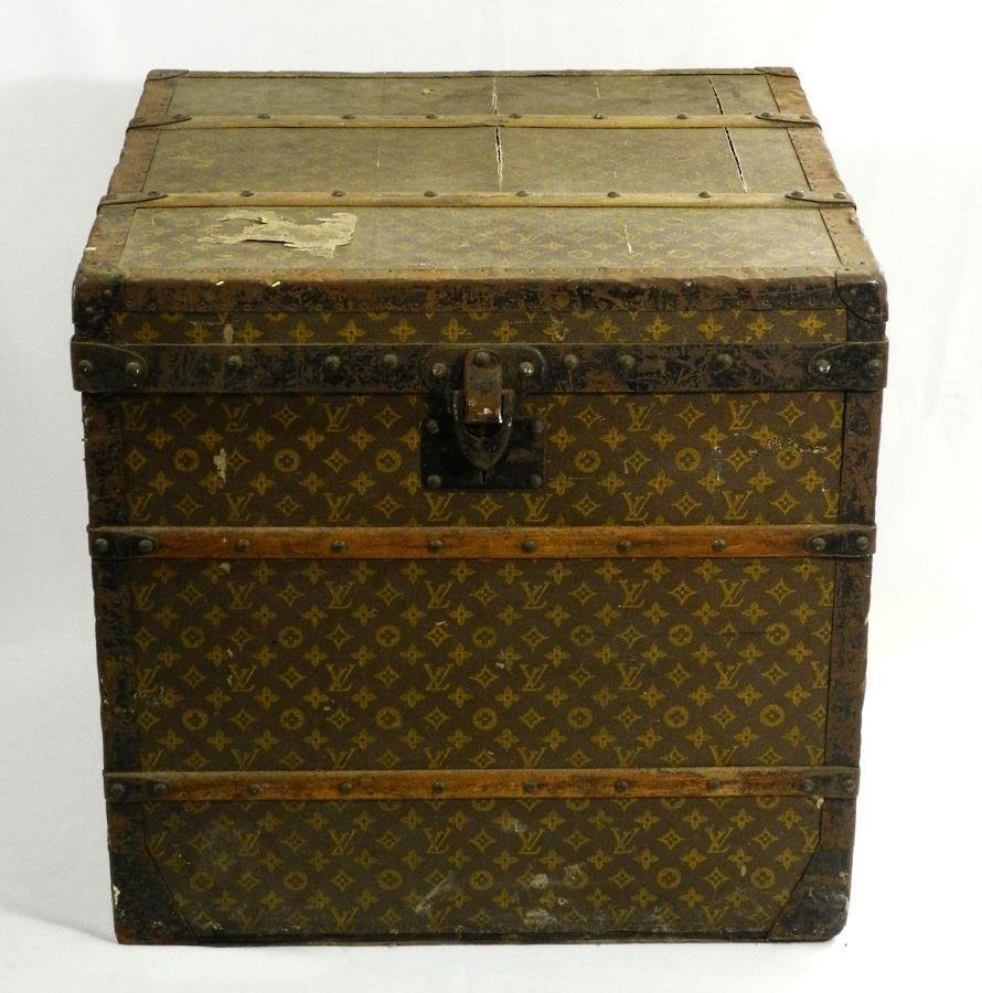 Vintage Louis Vuitton canvas logo steamer trunk,