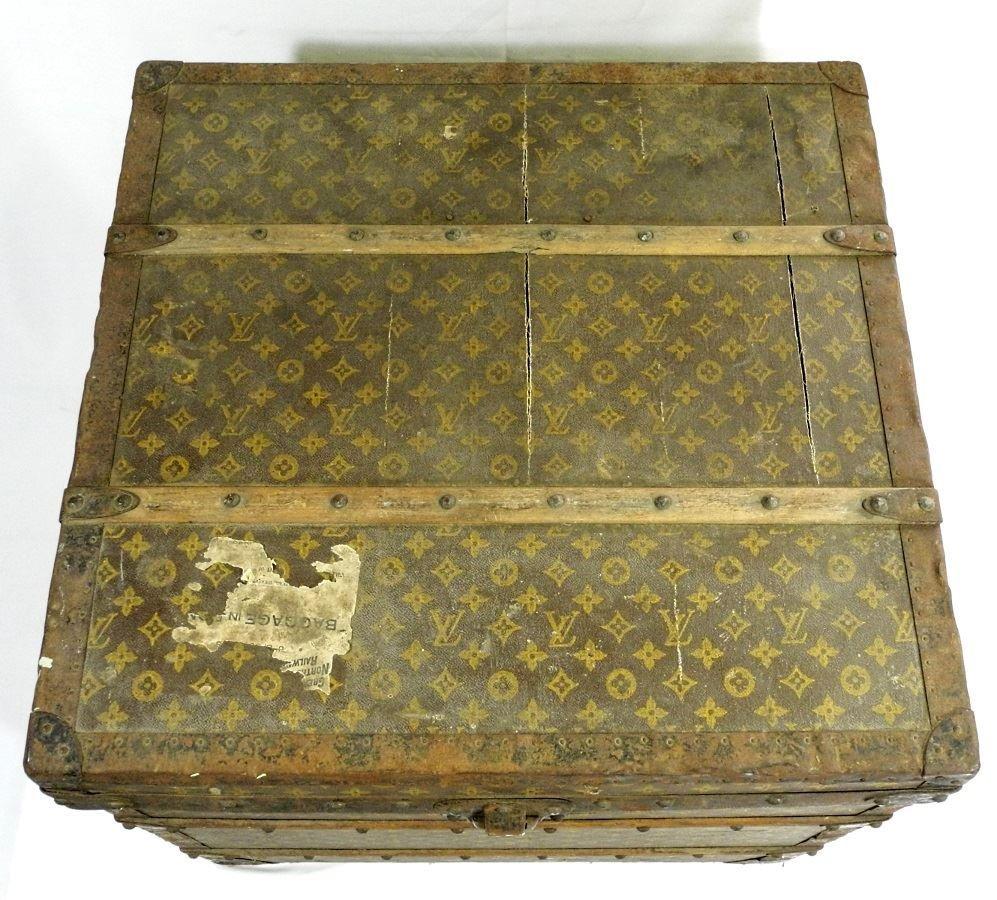 Vintage Louis Vuitton canvas logo steamer trunk, - 3
