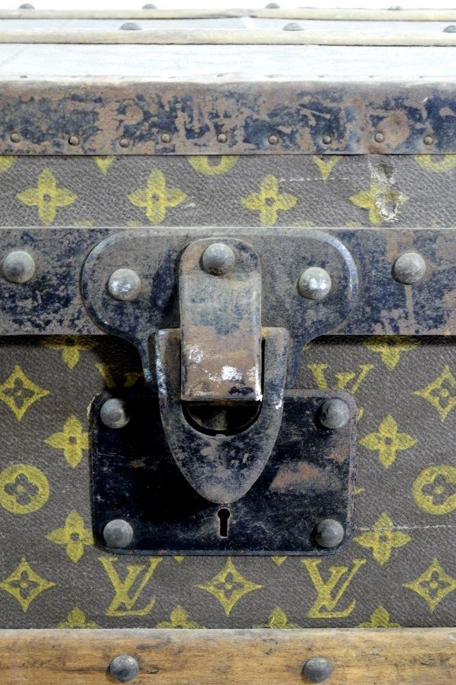 Vintage Louis Vuitton canvas logo steamer trunk, - 4