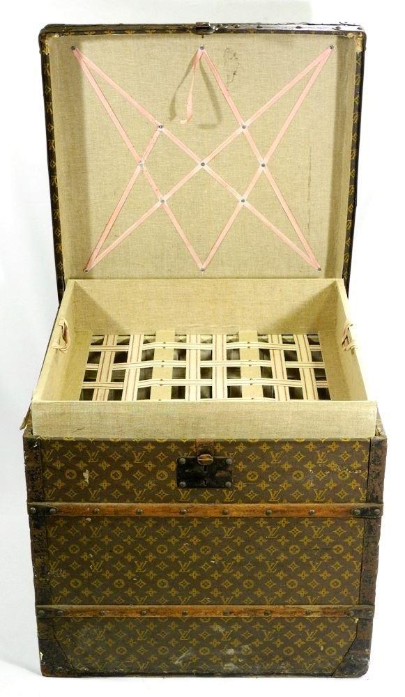 Vintage Louis Vuitton canvas logo steamer trunk, - 5