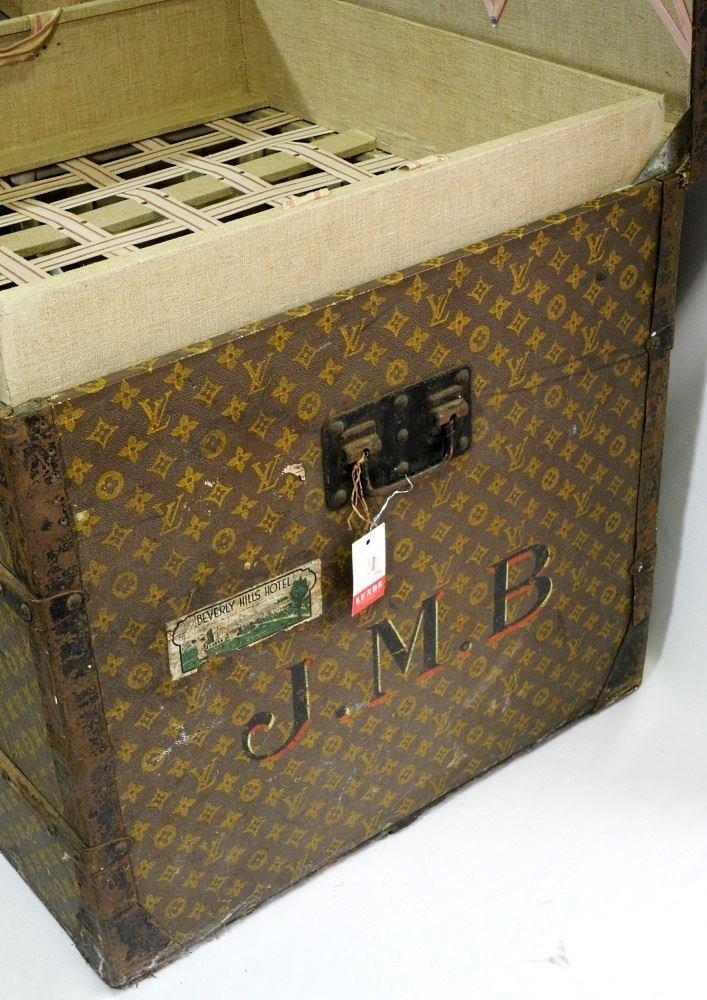 Vintage Louis Vuitton canvas logo steamer trunk, - 6
