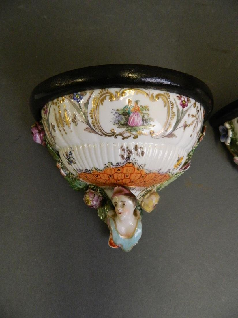 A pair of C19th Continental porcelain wall brackets, - 2