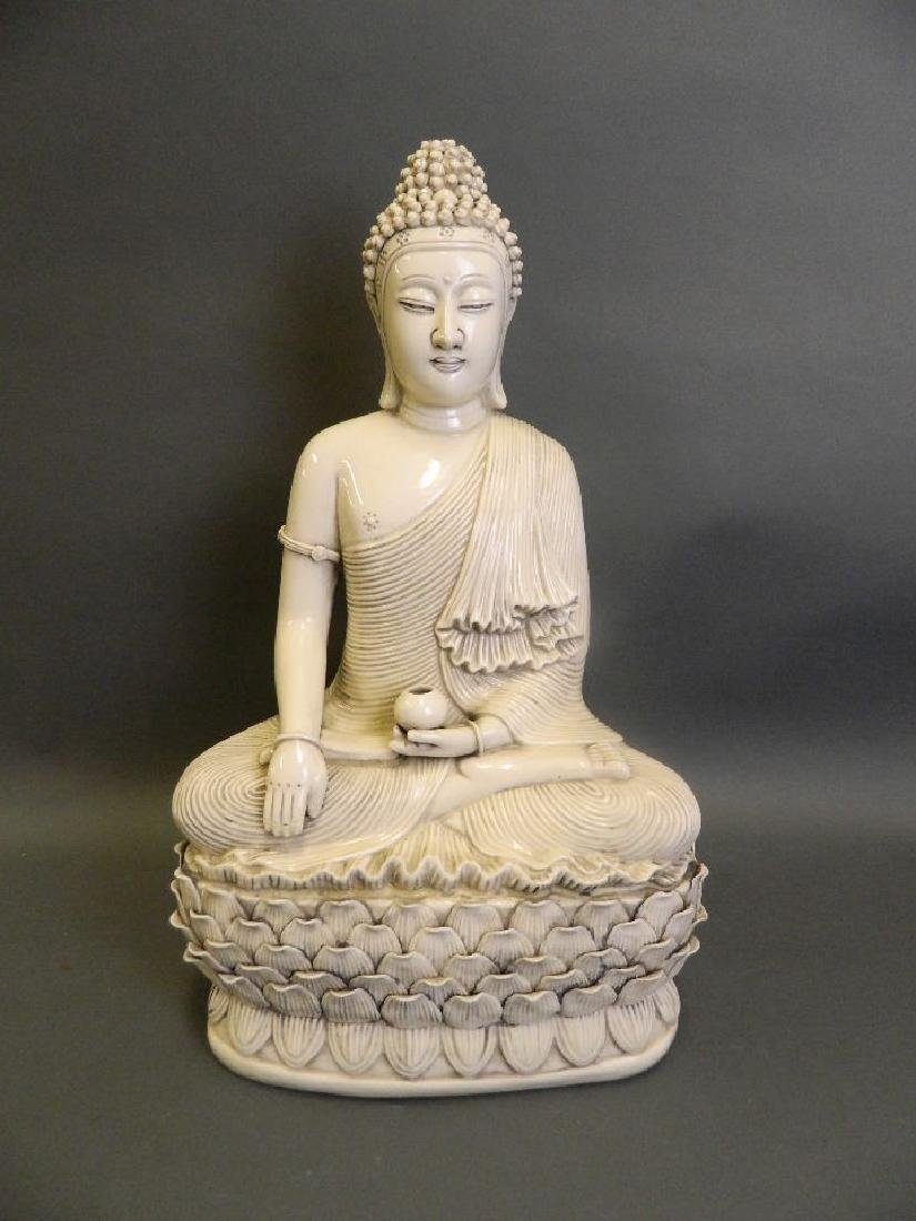 A large Chinese Blanc de Chine porcelain figure of