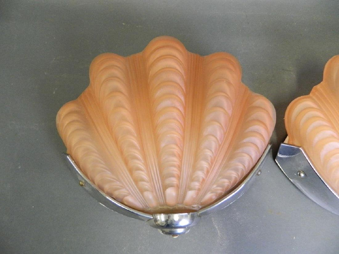 A pair of Art Deco period wall lights with coral - 2
