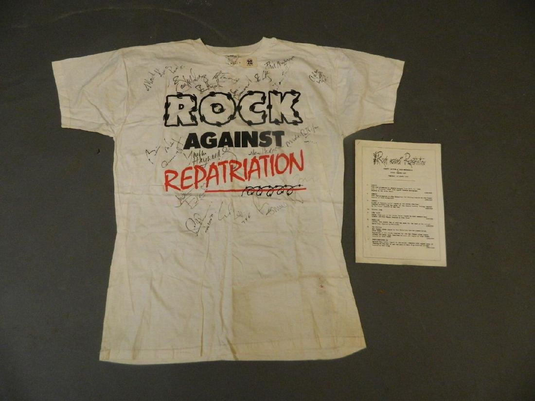 An original 'Rock Against Repatriation' t-shirt, signed