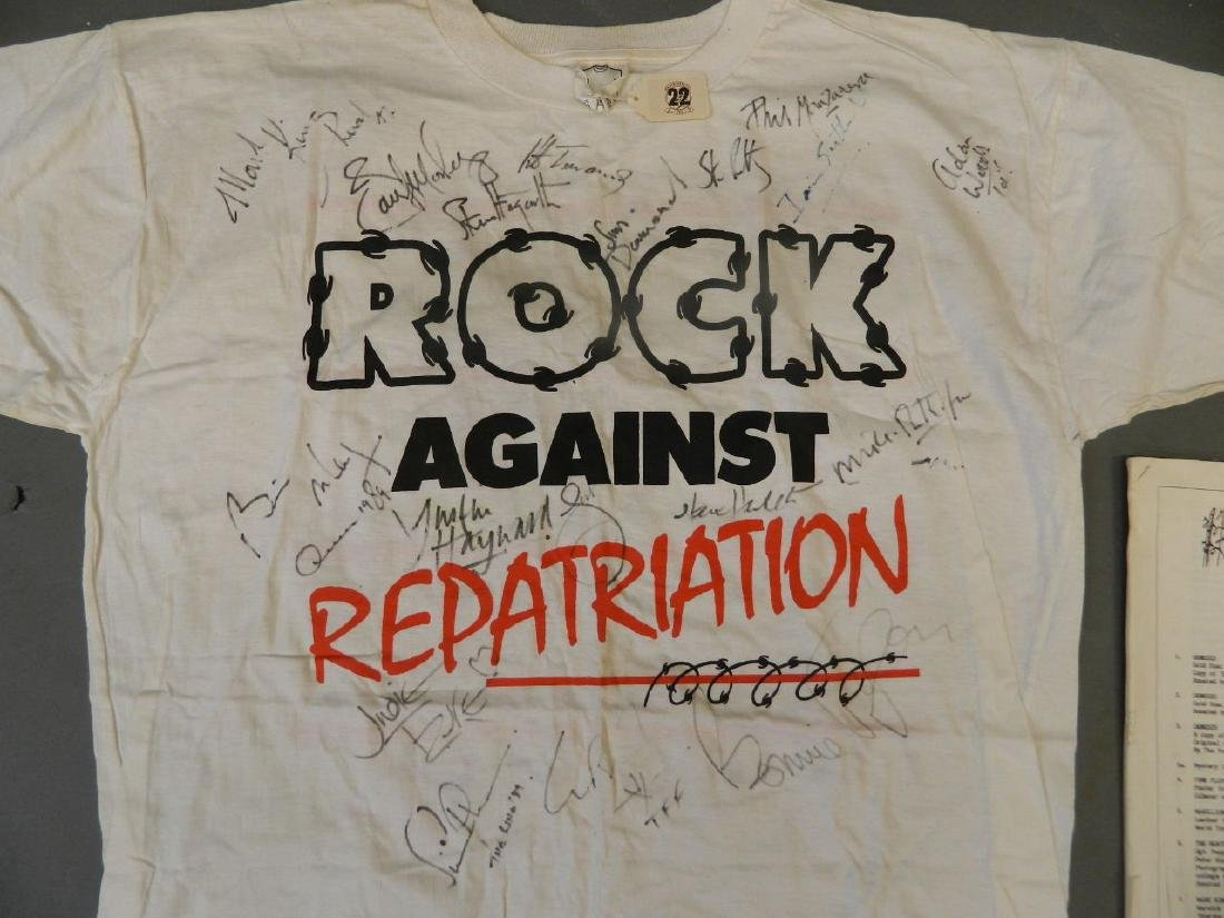 An original 'Rock Against Repatriation' t-shirt, signed - 2