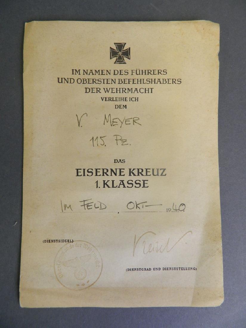 An original Iron Cross commendation for 'V. Meyer,