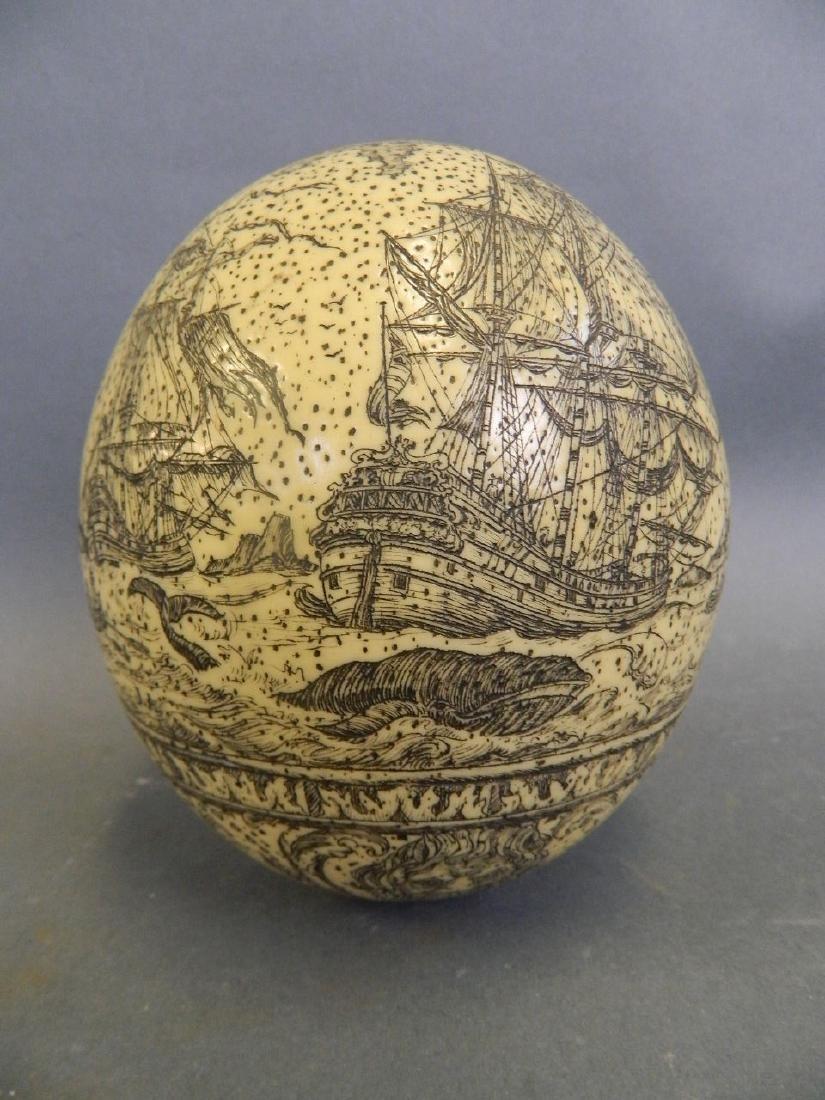 A large Scrimshaw carved egg depicting whaling scenes, - 2
