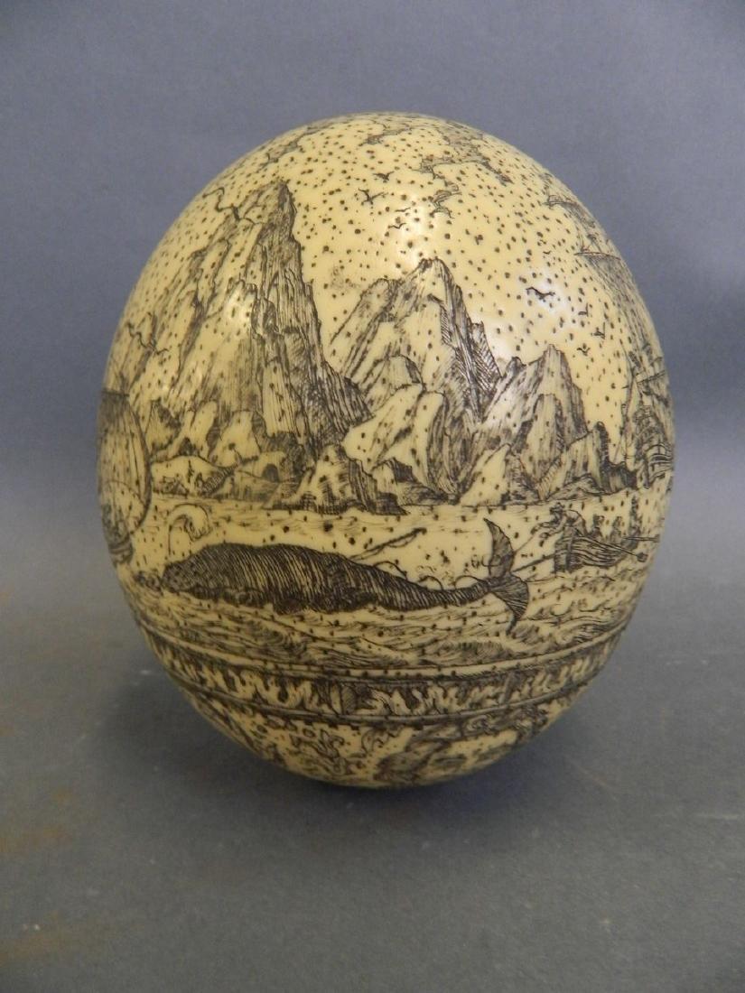 A large Scrimshaw carved egg depicting whaling scenes, - 3