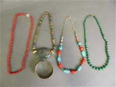 A collection of semiprecious stone necklaces to