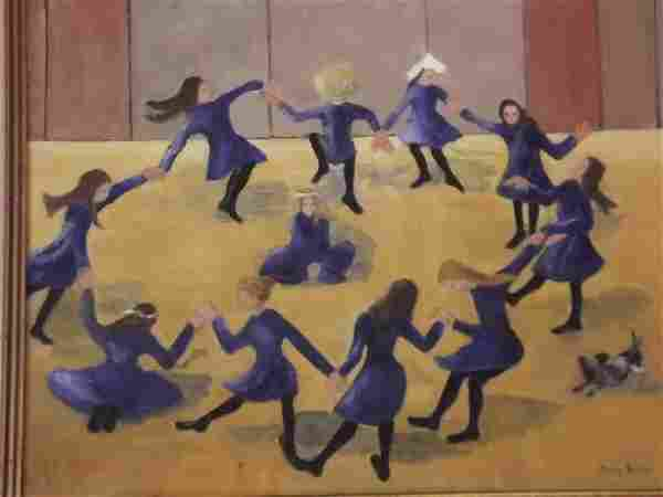 """Mary Bullen, oil on canvas, girls dancing, signed, 16"""""""