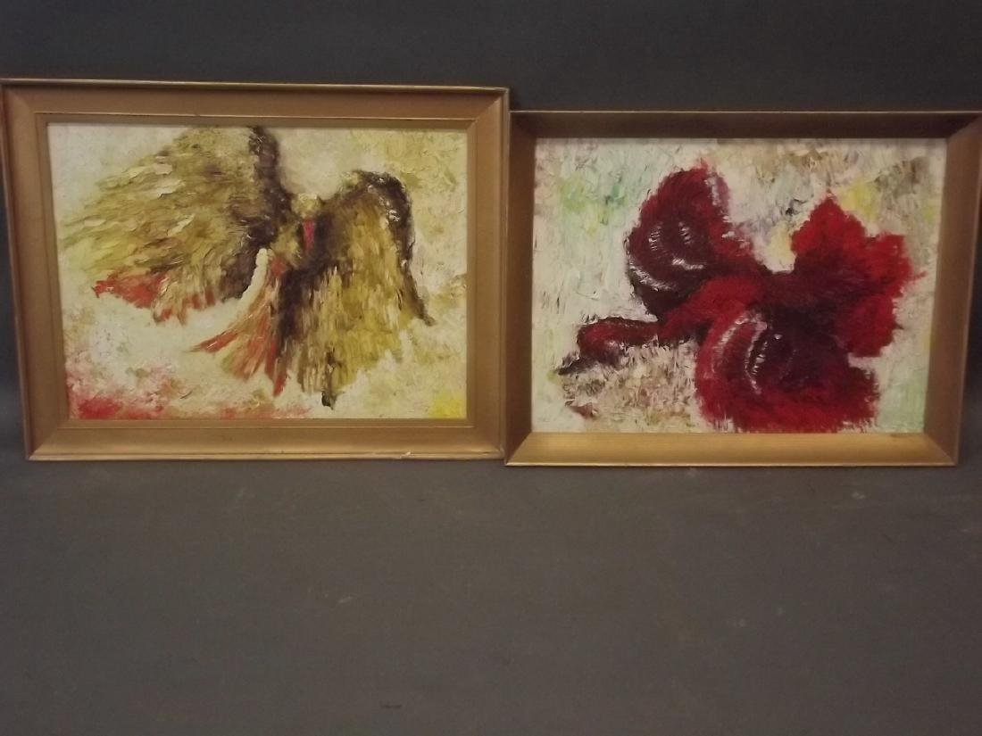 A pair of impasto impressionist oils on board, hawk and