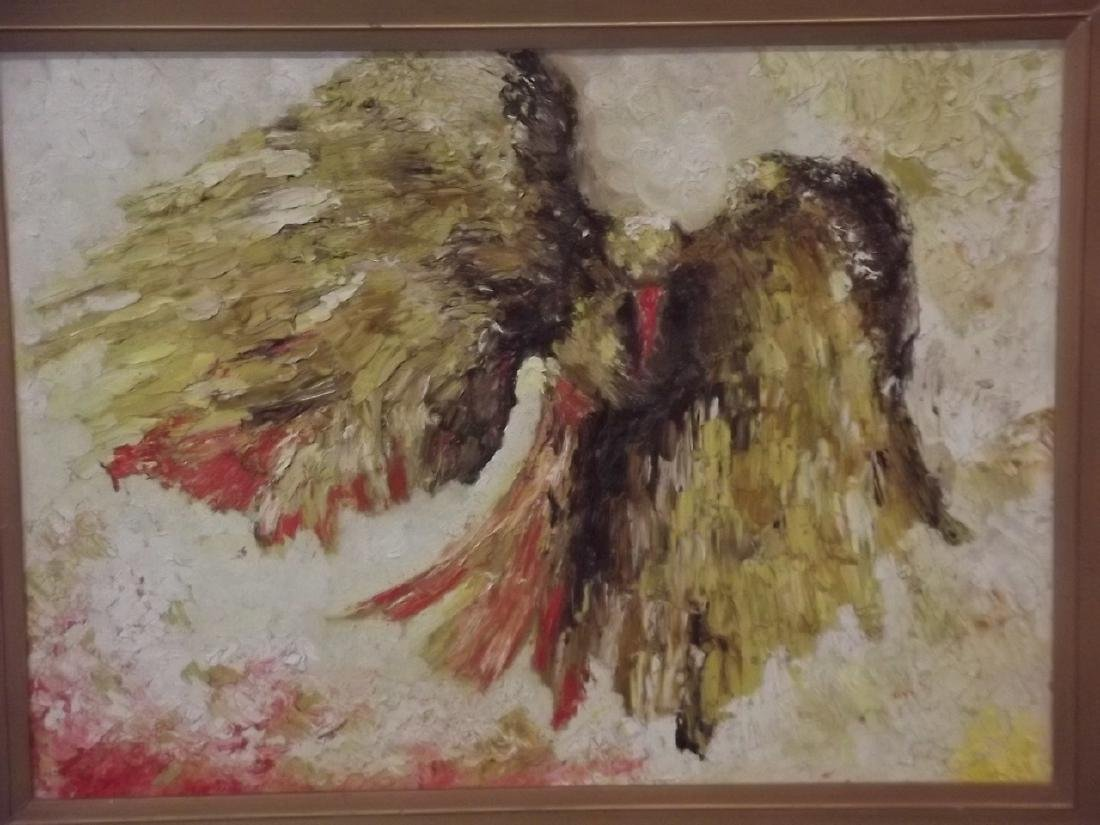 A pair of impasto impressionist oils on board, hawk and - 2