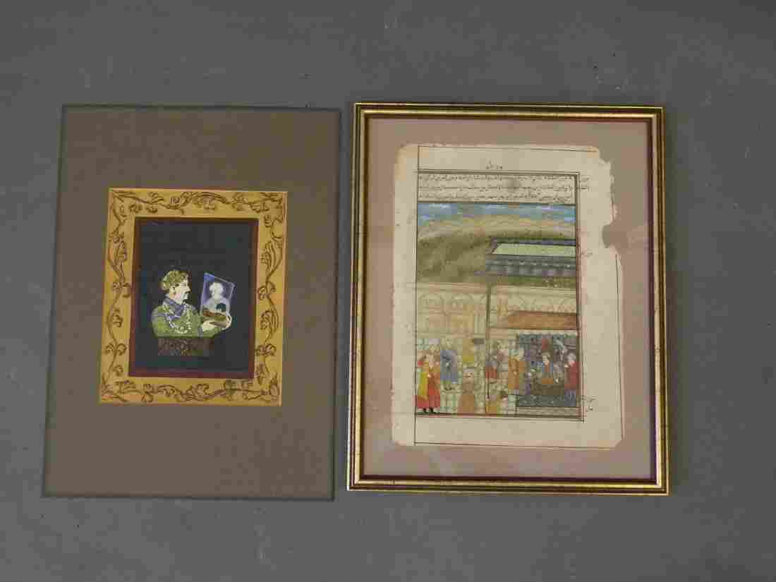 Two Indo-Persian School gouache paintings, nobleman