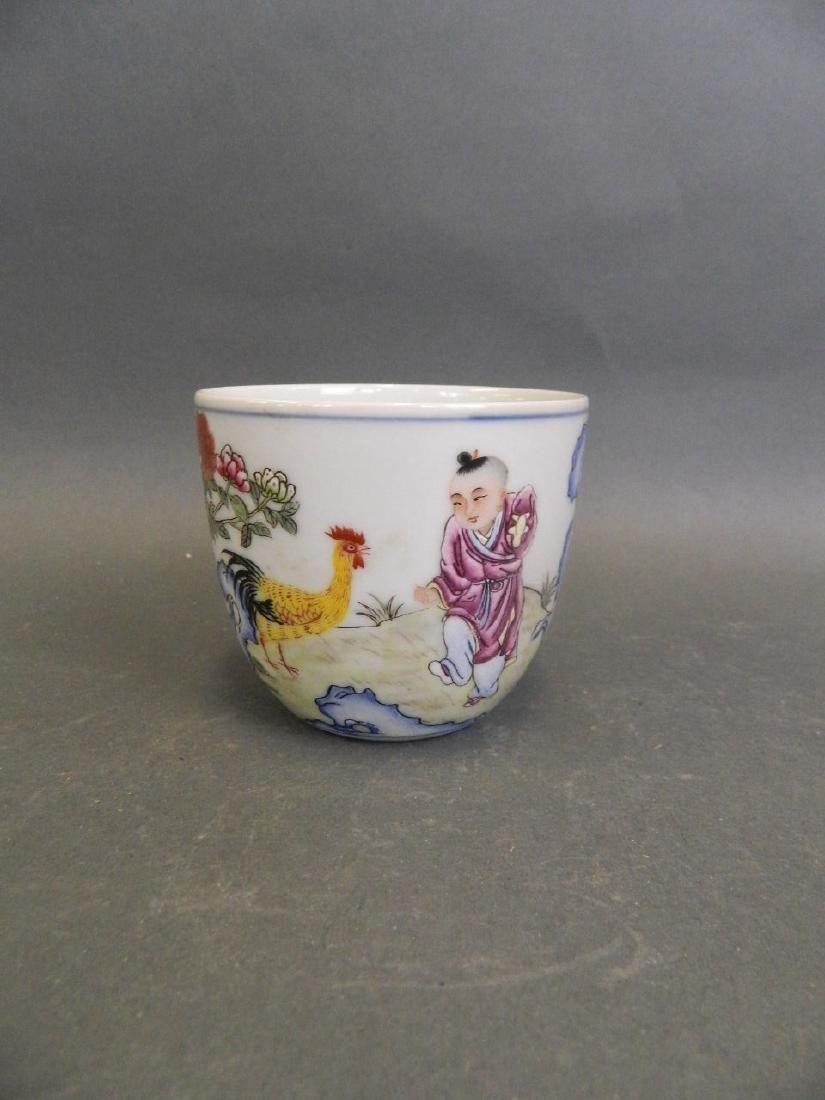 A Chinese Republic polychrome enamel tea bowl decorated
