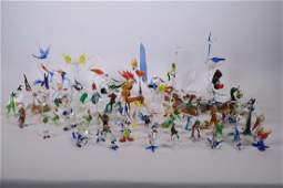 A large collection of miniature glass animals including