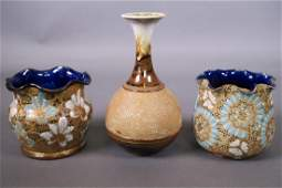 Two Doulton Lambeth Slaters patent stoneware vases with