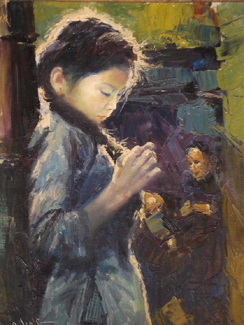 Wai Ming, oil on canvas, study of a young girl, signed