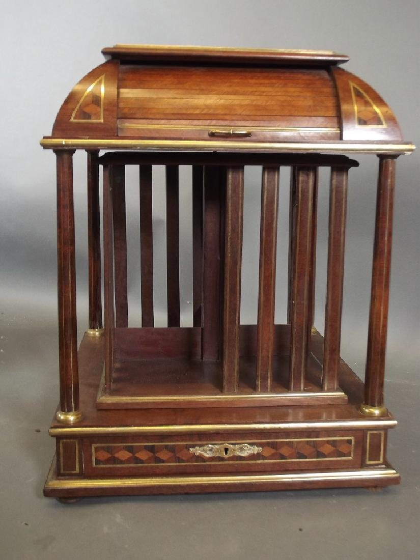 A mahogany, parquetry and brass inlaid desk-top