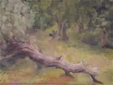 Arthur E. Hance, oil on board, landscape with fallen
