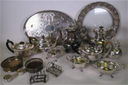 A box of silver plated items including oval gallery