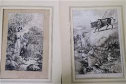 A pair of pen and ink drawings, original designs for