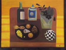 A modernist oil on board, still life with bottles,
