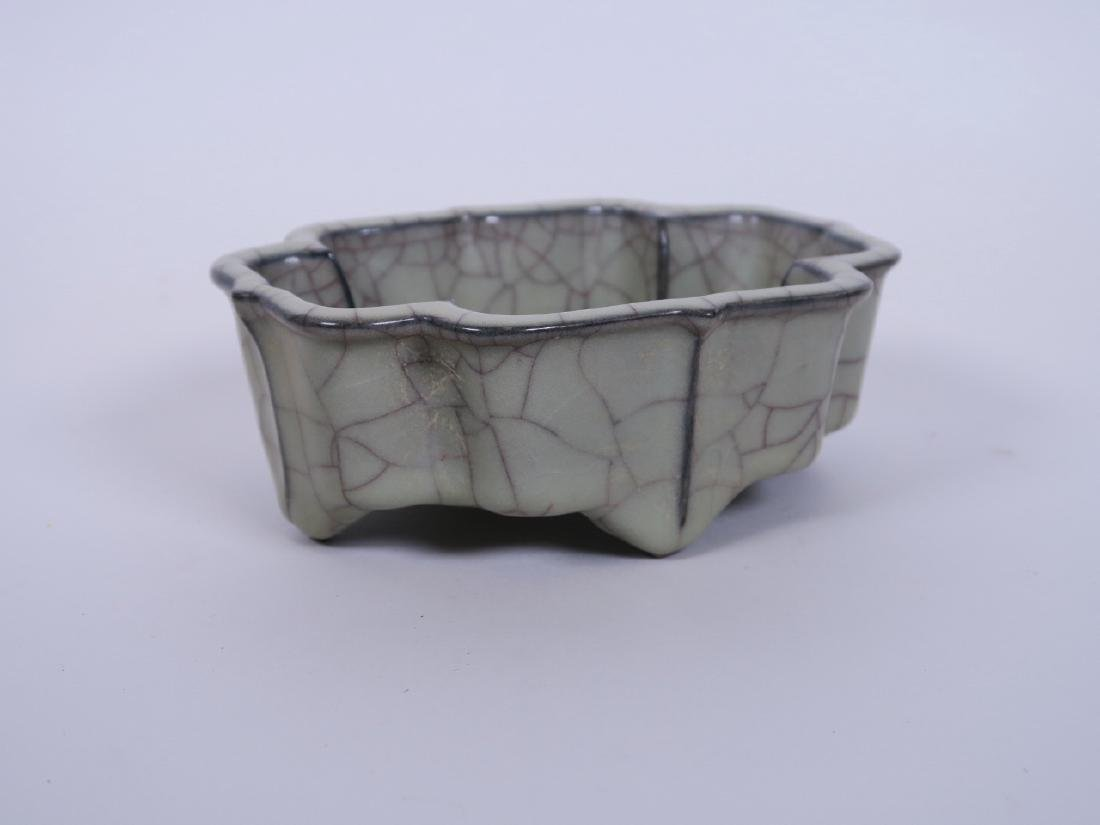 A Chinese celadon crackle glazed pottery censer raised