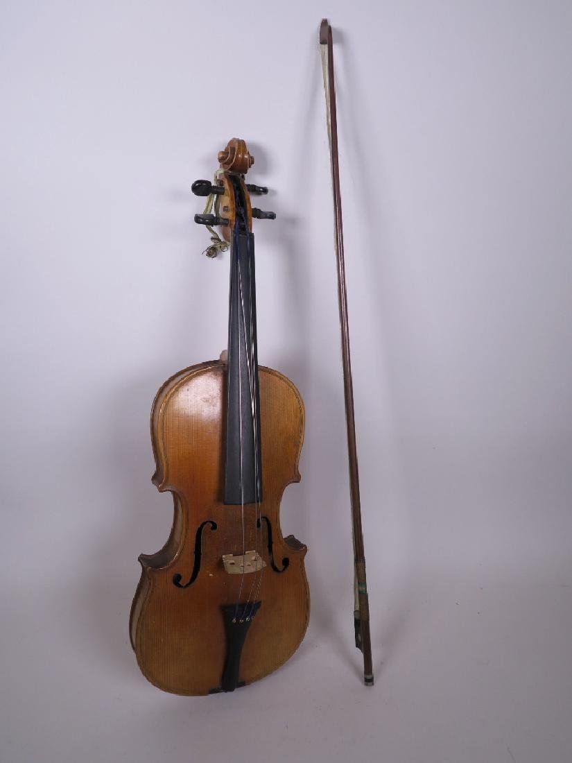 """A violin and bow, stamped 'Bausch', violin 2"""" long"""