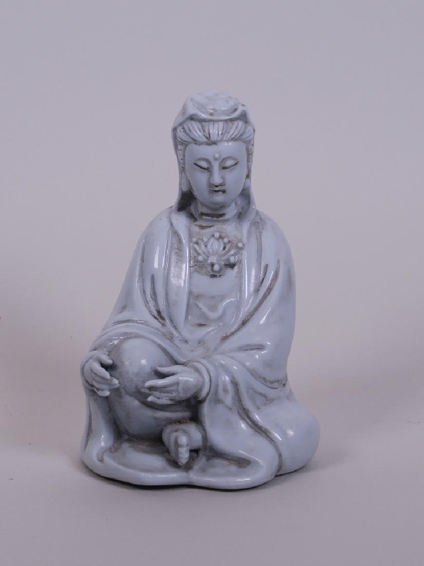 A Chinese blanc de chine Quan Yin, impressed marks